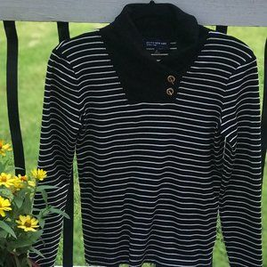 JONES NY Black & White Striped Top w/Shawl Collar